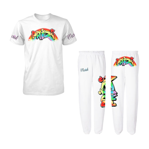 Pride Airbrush Sleeve Print Tee + Sweatpants Bundle