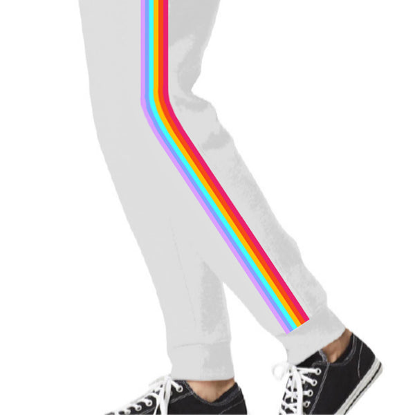 Neon Rainbow Pride White Sweatpants