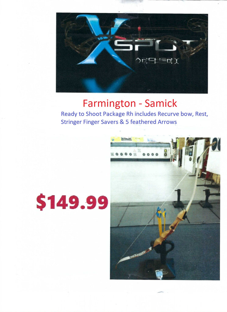 FARMINGTON ARCHERY SAMICK BOLT T/D RECURVE BOW PACKAGE RH 62""