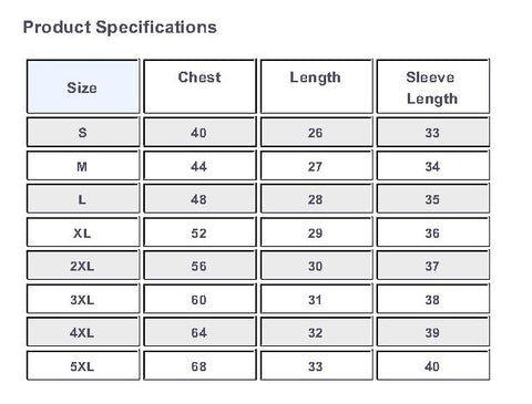 Size Chart for Pullover Hooded Sweatshirt