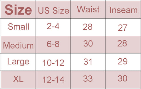 Honu Leggings size chart