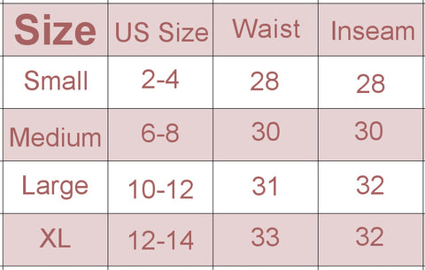 koru leggings size chart