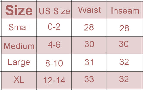 kuahiwi boot cut pants size chart