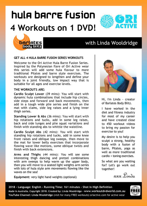 Free DVD with Purchase of $25 or more - Hula Barre Fusion by Linda Wooldridge