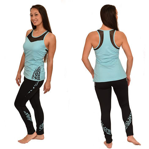 Koru Maori Tattoo Collection Workout Set Racerback tank with Long Leggings