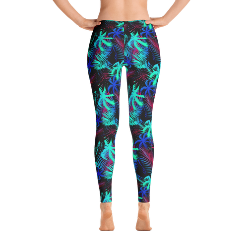 Hawaiian Tropical Palm Tree and Fern Long Yoga Leggings - 9 Colors Available - Available in Plus Sizes
