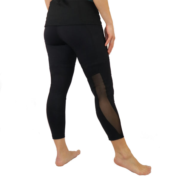 black mesh 7/8 yoga capri crop pants long