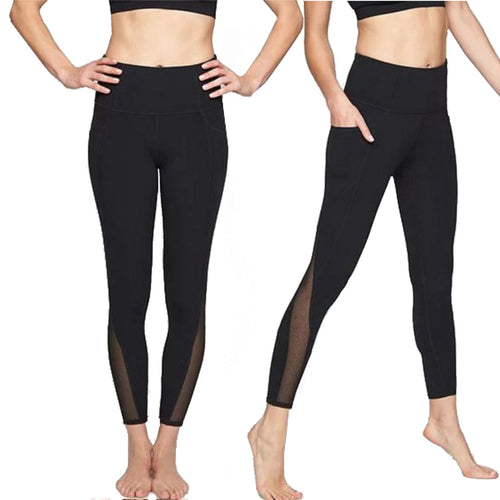 Aloha Collection Yoga Set - 7/8 Mesh Black Leggings with Black Yoga Top