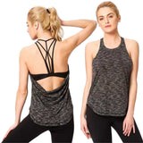 Gray Strappy Yoga Tank with Drape back - Built in Bra with Removable Cups