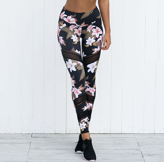 Black, Pink & Tan Tones Floral and Tropical Fern Hawaiian Long Yoga Pants / Leggings with Mesh Accents