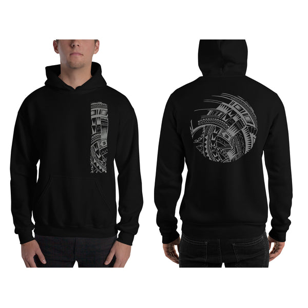 Black Polynesian Samoan tattoo Hawaiian Hooded Sweatshirt