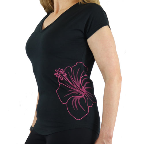 Hawaiian Hibiscus Tattoo Semi Fitted Short Sleeve Triblend T Shirt in Pink and Black