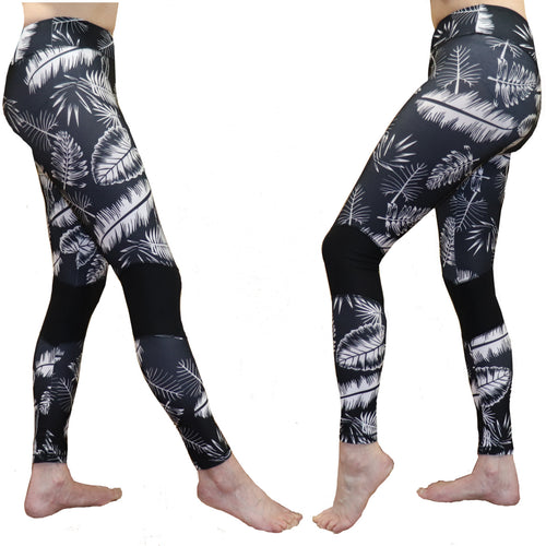 Black and White Tropical Fern Long Yoga Pants / Leggings with Mesh Accent