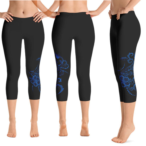 Hawaiian Hibiscus Tattoo Crop / Capri Yoga Pants - 7 colors available, Regular or Wide Waistbands