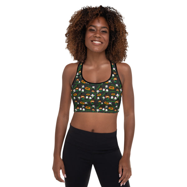 Halloween - Happy Hulaween Padded Sports Bra - 6 Colors Available