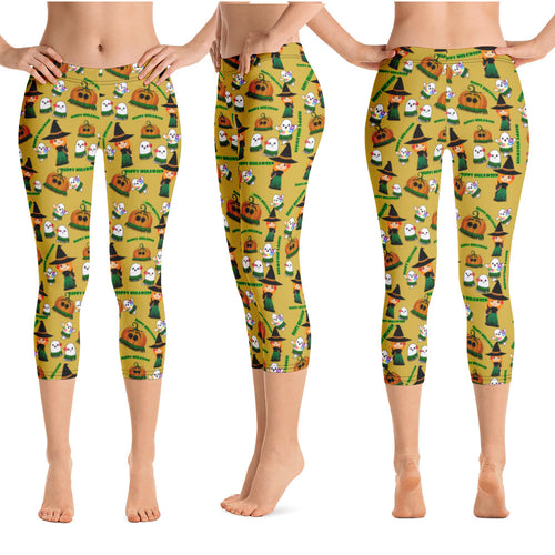 Halloween - Happy Hulaween Capri Leggings - 6 Color Choices & Regular or Wide Waistband