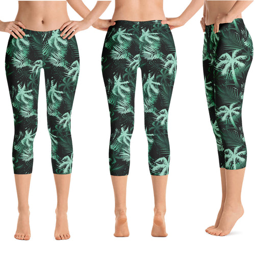 green palm tree hawaiian capri leggings