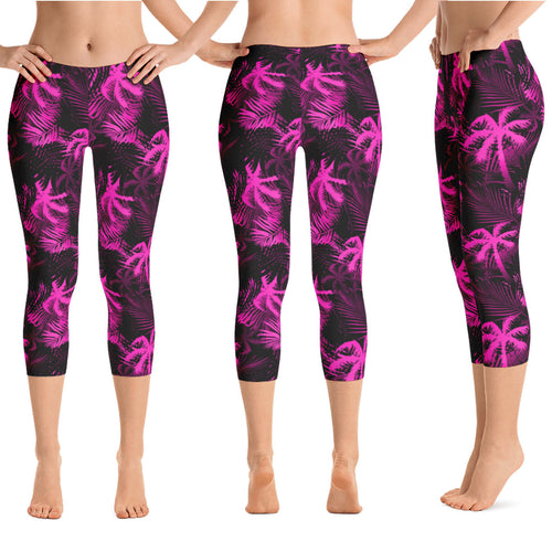 Pink palm tree capri leggings