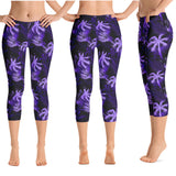 Hawaiian Tropical Palm Tree and Fern Crop Yoga Pants - 9 Colors Available