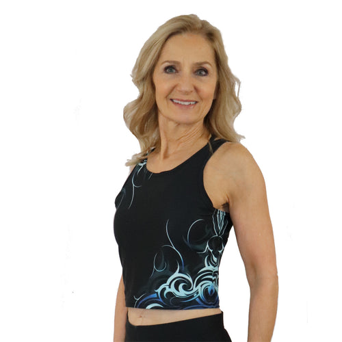 Wave Pattern Athletic Crop Tank Top