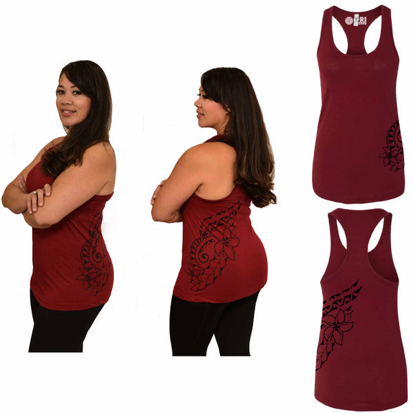 Dark Red racerback Polynesian tattoo print tank