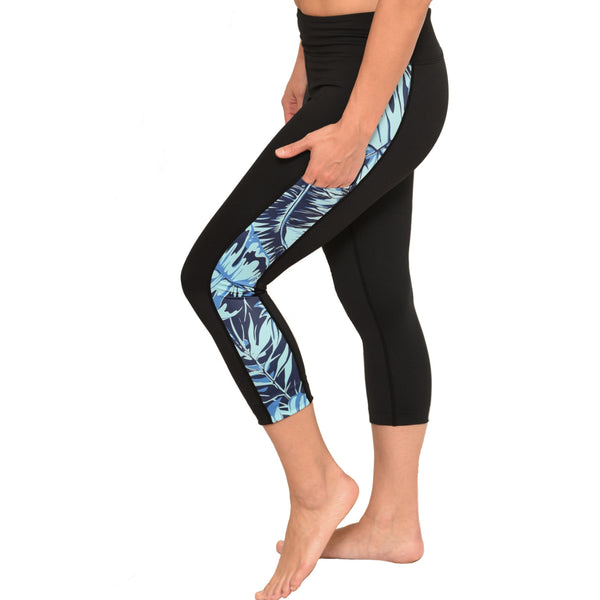 Tropical Crop Pants with Blue Fern pattern detail
