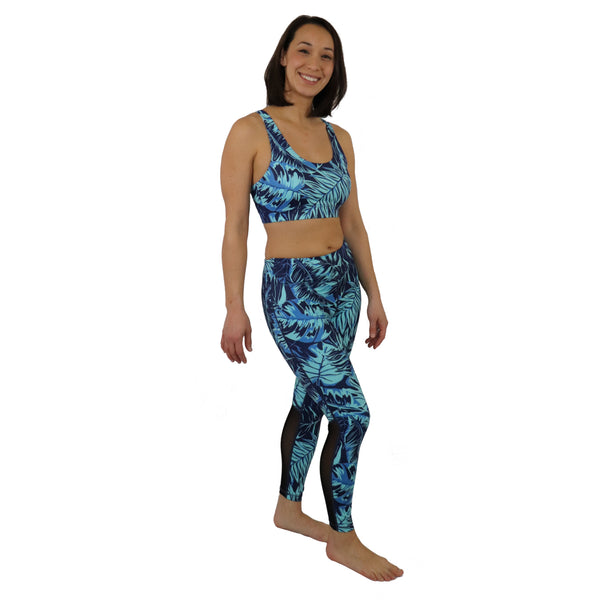 Tropical Fern Yoga Set - Yoga Sports Bra Top & Choice of Crop or Long Leggings