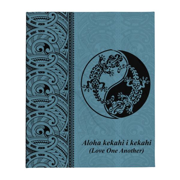 "Gecko Yin Yang Polynesian Tattoo Fleece Blanket / Throw 50"" X 60"" - 3 colors available - Aloha Kekahi I Kekahi (Love One Another)"