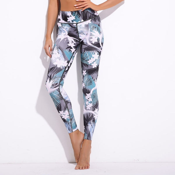 Gray, Blue, Pink and Green Tones Floral and Tropical Fern Hawaiian Long Yoga Pants / Leggings