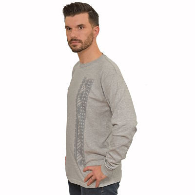 Men's long sleeve shirt with Samoan tattoo print gray