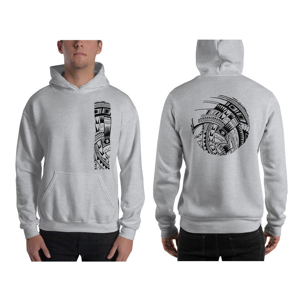 Gray Grey Polynesian Samoan tattoo Hawaiian Hooded Sweatshirt