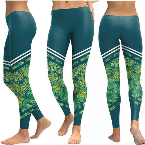 Blue and Green Tropical Fern Long Yoga Pants / Leggings