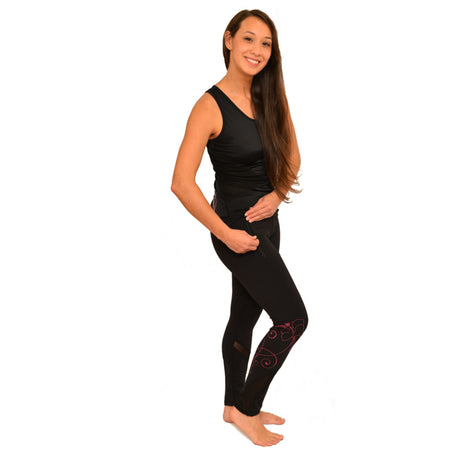 Hawaiian Pink Hibiscus Tattoo Crop Yoga Pants with Mesh inserts