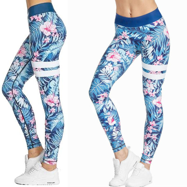 36548a3275 Blue and Pink Hibiscus and Tropical Fern Long Yoga Pants   Leggings ...