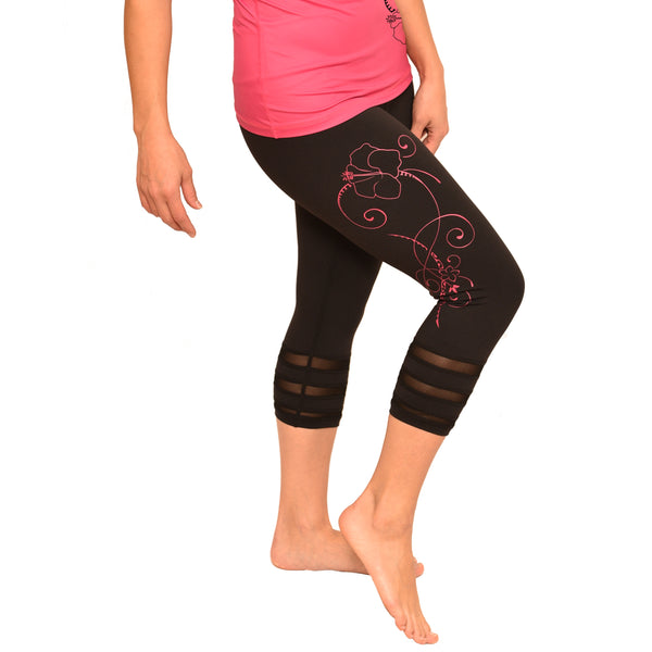 Hibiscus Pink Tattoo Yoga Set - Built in Bra Yoga Top & Choice of Crop or Long Leggings
