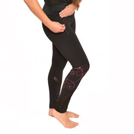 Monstera Leaf with Plumeria Print Long Yoga Leggings