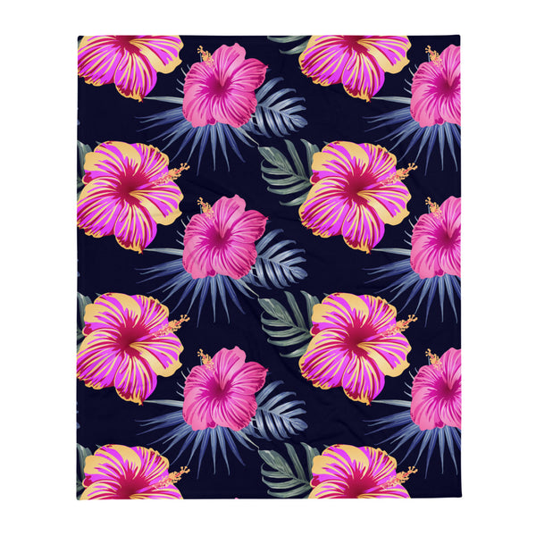 "Bright Pink Hibiscus design 2 super soft Throw Blanket - Size - 50"" X 60"""