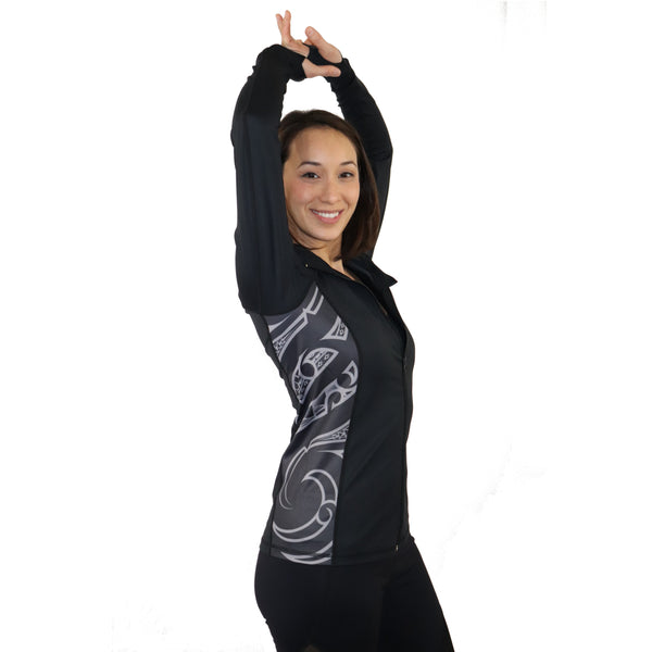 Samoan and Maori Fusion Tattoo Workout Running Jacket - Malosi Collection
