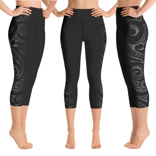 Malosi Samoan-Maori Fusion Tattoo Crop / Capri Yoga Pants - sizes up to 3XL