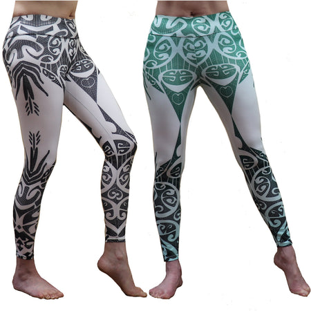 Blue Tropical Fern Long Yoga Pants / Leggings with Mesh Accent
