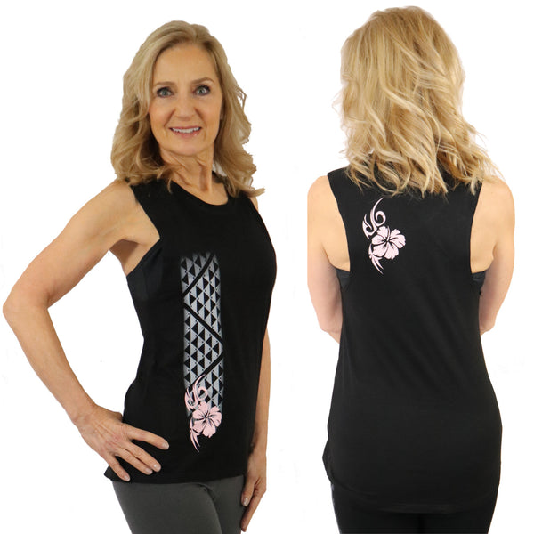 Hawaiian hibiscus tattoo yoga tank drop arms