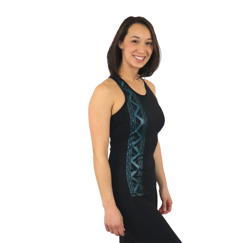 Kuahiwi Black Mesh with teal accents tattoo tank with a  Built in Bra and Removable Cups