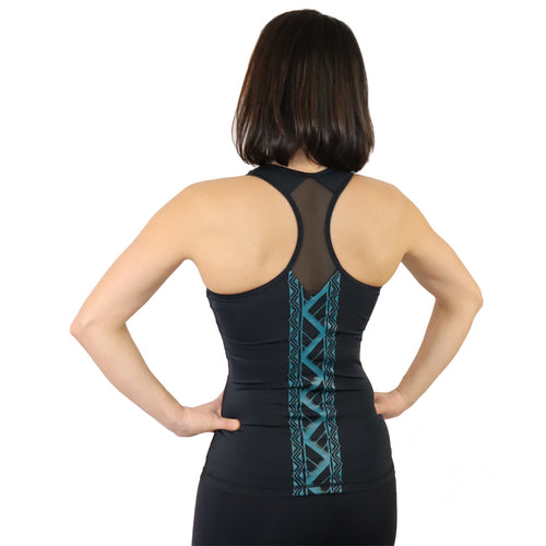 Hawaiian tattoo yoga tank with built in bra