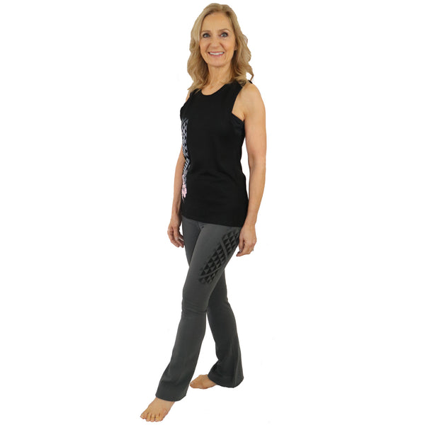 Kuahiwi Tattoo Yoga Set - Organic Cotton Muscle Tank with Boot Cut Yoga Pants