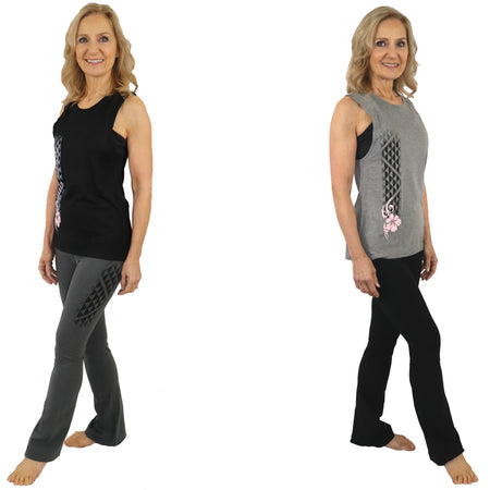 Wave Pattern Long Yoga Leggings - 2 Bands Available (Regular and Wide)