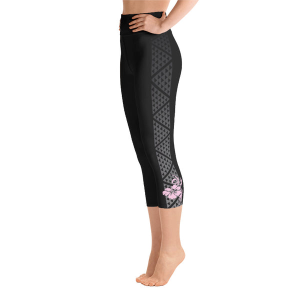 Hawaiian leggings high waist with hibiscus