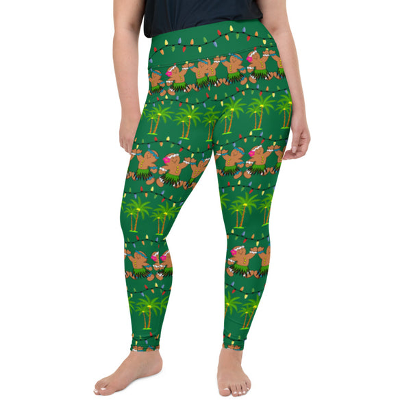 Christmas in Hawaii Leggings up to size 6XL - 4 Color Choices & Regular or Wide Waistband