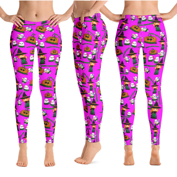 Hawaiian Halloween yoga leggings