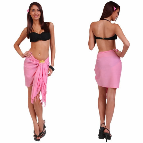 Light Pink Half Pareo (Sarong) with Fringe