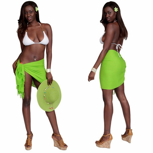 Lime Greem Half Pareo (Sarong) with Fringe